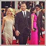 Cute couple Naomi Watts and Liev Schreiber held hands on the carpet. How gorgeous is her Marchesa gown? Source: Instagram User instylemagazine
