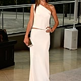 Alessandra Ambrosio was one sexy angel in a one-shouldered white top and matching maxi skirt.