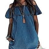 Himone Ruffle Off-Shoulder Mini Denim Dress