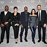 Corey Gamble, Kris Jenner, Kanye West, Kim Kardashian, and Riccardo Tisci