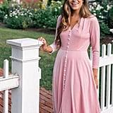 Gal Meets Glam Collection Joy Button Front Velvet Dress