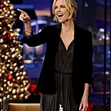 Charlize pointed to the audience before taking her seat next to Jay.