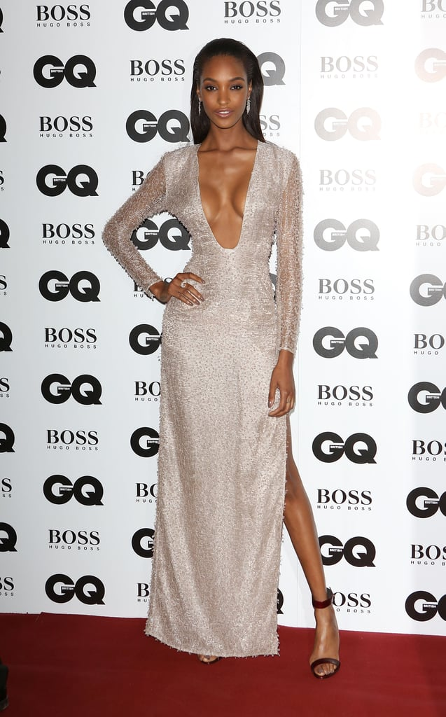 Joudan Dunn positively smoldered in a sparkling high-slit design on the GQ Men of the Year Awards red carpet.