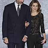 Queen Letizia was all smiles when she and her husband attended a tribute concert at the National Auditorium in March.