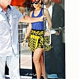 In June 2010, the singer debuted a cool new color combo featuring a cobalt tank and printed yellow skirt.