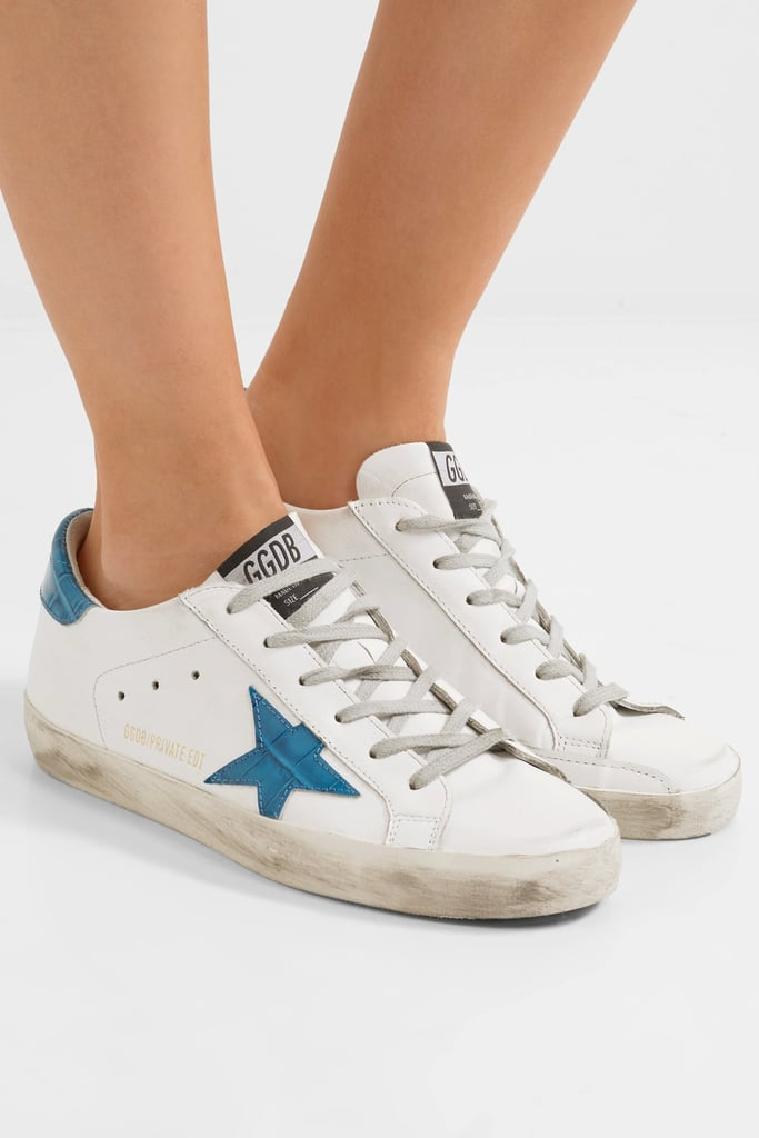 a1d52bd948e1e3 Golden Goose Deluxe Brand Super Star Distressed Croc Effect-Paneled Leather  Sneakers in White