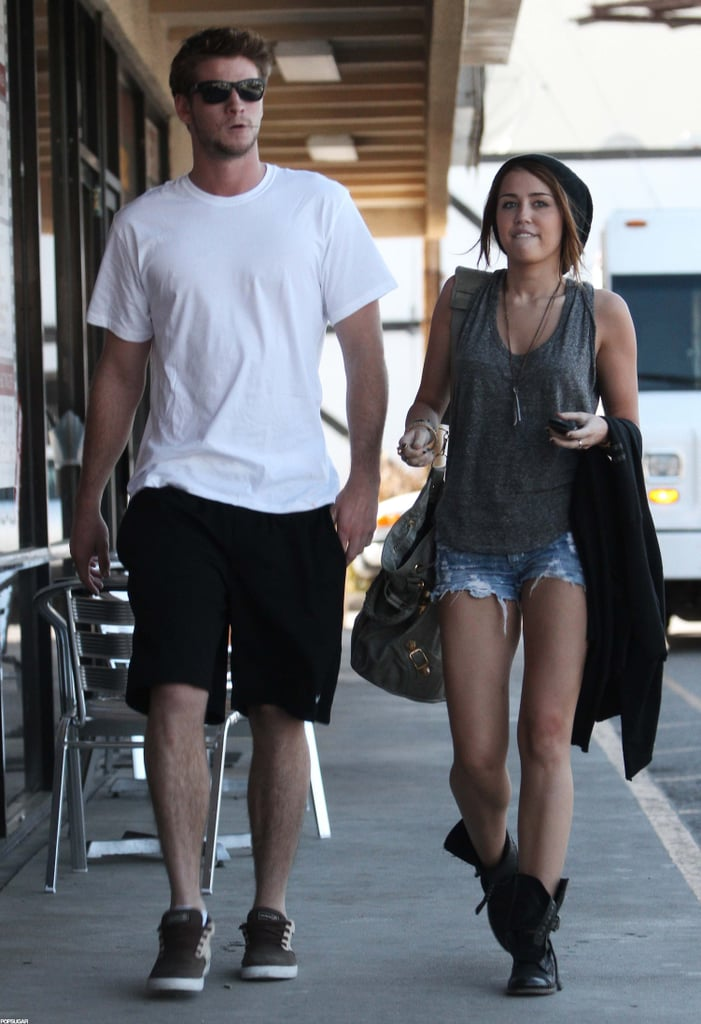 In March 2010, Miley Cyrus and Liam Hemsworth got sushi in LA.