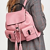Gucci Pink Leather Bamboo Handle Backpack