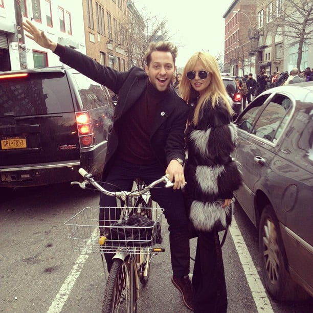 Derek Blasberg and Rachel Zoe got silly in the street between Fashion Week shows. Source: Instagram user rachelzoe