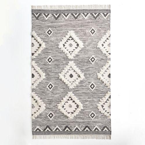 Sage Black & White Diamond Rug
