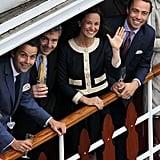 Charlie Gilkes, Michael Middleton, Pippa Middleton, and James Middleton waved.