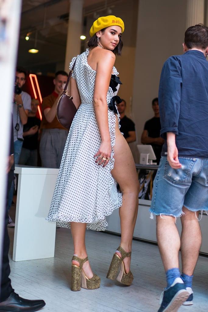 Dua Lipas Polka Dot Dress With Split Nyc 2018 Popsugar Fashion