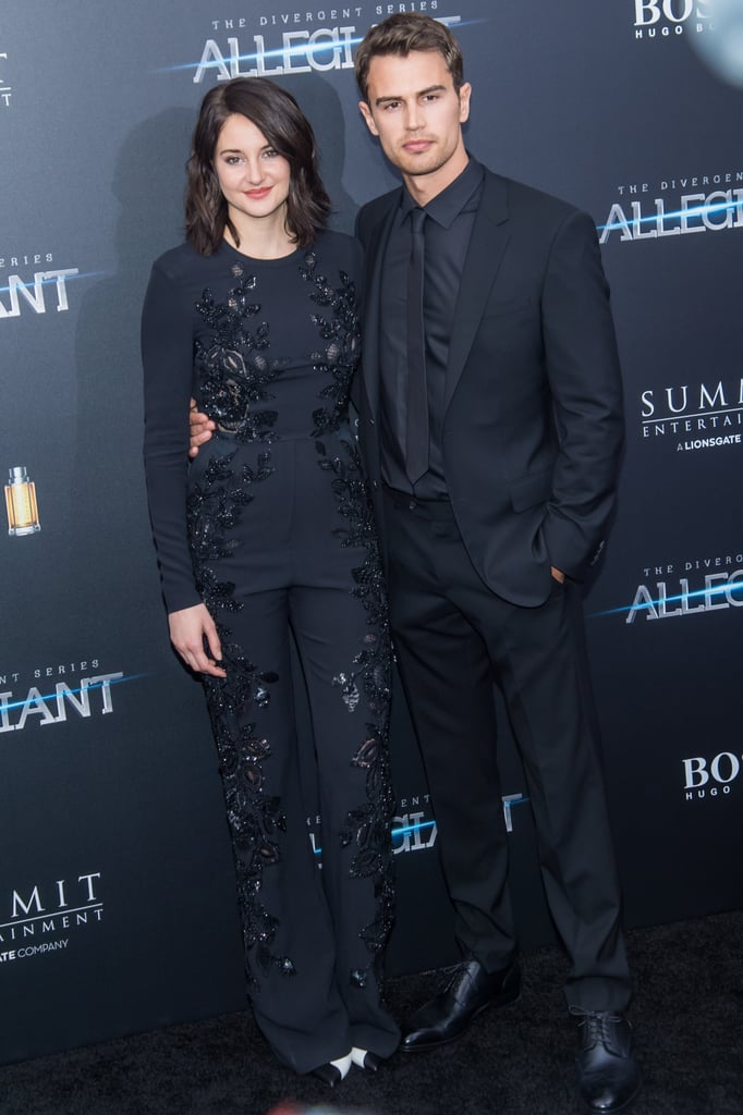 Shailene Woodley, Theo James, and the rest of the The Divergent Series: Allegiant cast all hit the red carpet for the New York premiere of their film at the AMC Lincoln Square Theater on Monday evening. Theo showed off his sexy smolder for the cameras while Shailene, who stunned in a black Elie Saab jumpsuit, flaunted her offscreen chemistry with Naomi Watts. Birthday boy Ansel Elgort also brought his ridiculously good looks and linked up with Miles Teller, who recently sat down with POPSUGAR ahead of the March 18 release of the movie. In addition to appearances by the original cast of the Divergent series, newcomers Nadia Hilker and Jeff Daniels also popped up at the event. Keep reading to see the star-studded arrivals, and then watch the cast play a delirious game of Mad Libs.