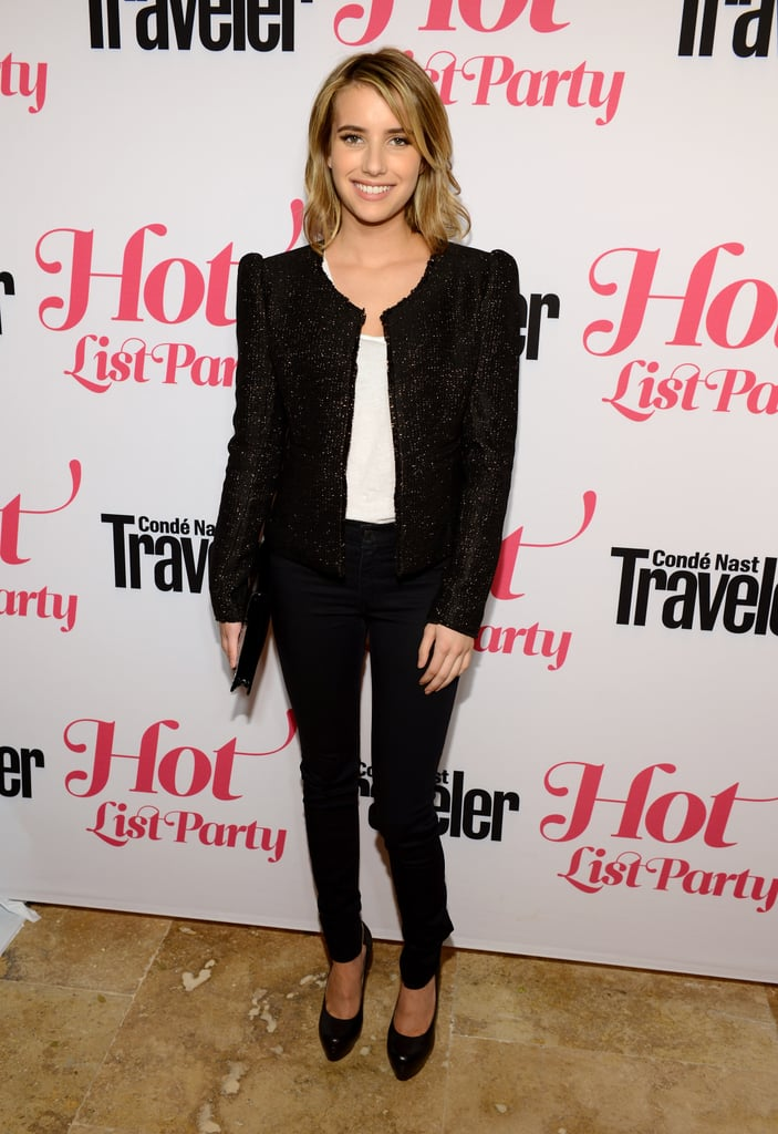 Emma Roberts played it cool and dressy-casual for the Condé Nast Traveler Hot List party, wearing black skinny pants, a white tee, and a structured-shoulder jacket.