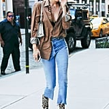 Gigi Hadid Leopard Stuart Weitzman Boots
