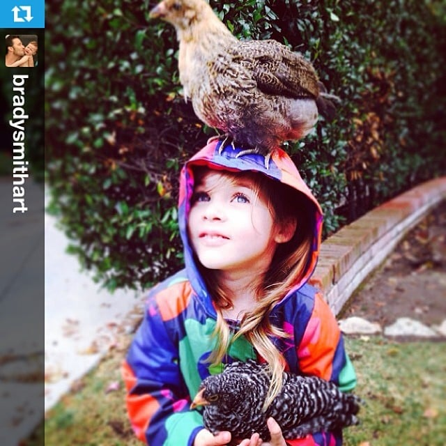 Harper Smith had her hands, and head, full on a rainy LA day.  Source: Instagram user tathiessen
