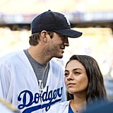 Chilling at a 2016 Dodgers game with husband Ashton Kutcher.