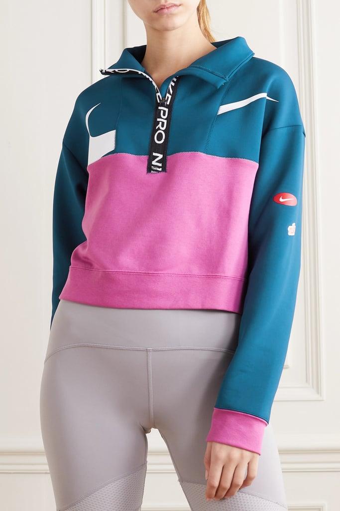 Nike Navy Cropped Color-Block Dri-FIT- Fleece Sweat Shirt