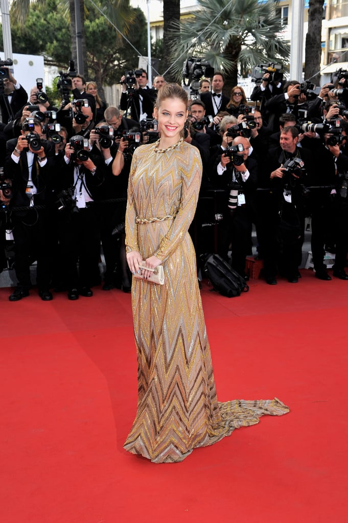 Barbara Palvin wore a jaw-dropping gold gown to the Lawless premiere.