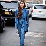 If you've mastered double denim, go for a triple with a chambray top mixed in.