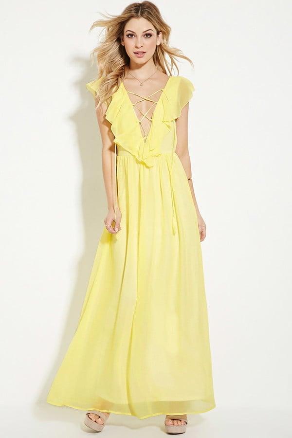c4fde4c114fa Forever 21 Ruffled Chiffon Maxi Dress ($30) | Lace-Up Tops ...