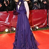 The rich purple hue on this ruffled Yves Saint Laurent gown really matched Cate's complexion at the 57th Berlin International Film Festival.