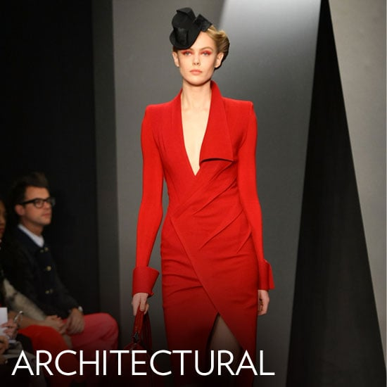 Why we love them: The architectural, structural details we saw on the runway are all figure boosters. Whether it's a structured wrap, collar, or corseted waistline, the architecture here helps to shape our bodies, highlighting what we love (and concealing what we don't). They're also a cool modern silhouette that's both feminine and strong. How to wear them: Look for the details that highlight your figure best — opt for a wrapped skirt to flaunt your legs, a sculptural neckline to draw the eye upward and show off a great upper body. You can use the structural play here to your advantage, but we love the look of a clean, architectural-cut sheath with bare legs and a great pair of heels. In this photo: Donna Karan Fall 2012
