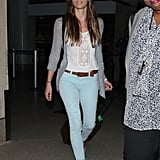 Jessica Biel made her way toward the airport exit.