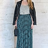 A printed maxi got a Fall counterpart in a leather jacket and structured satchel.