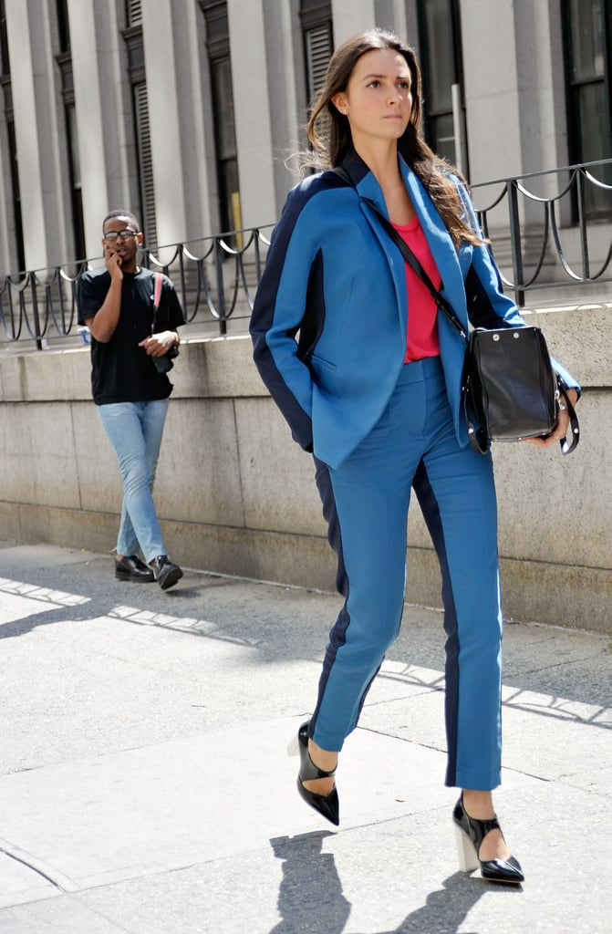 Tuxedo striped suiting feels more cool girl than 9 to 5.