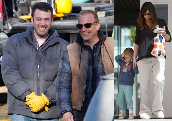 Photos of Ben Affleck and Kevin Costner Filming The Company Men in Boston, Jennifer Garner and Violet in LA