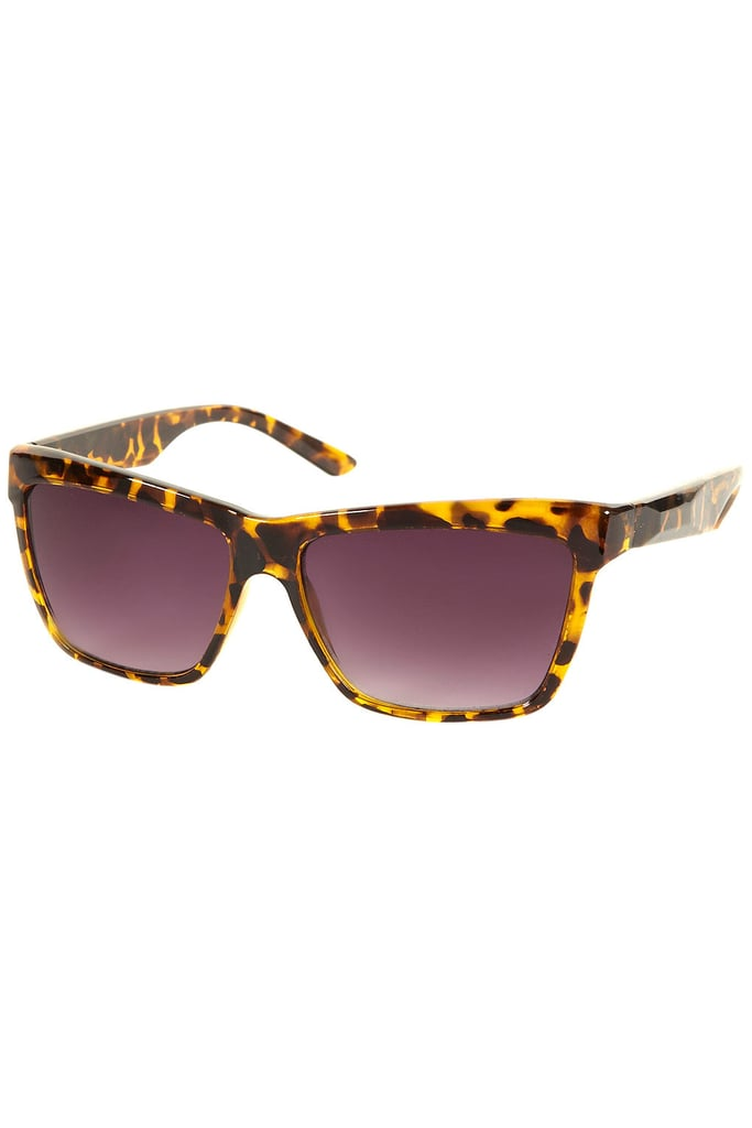 A slick, sporty shape in a classic tortoiseshell finish.  Topshop Plastic Square Sunglasses ($32)