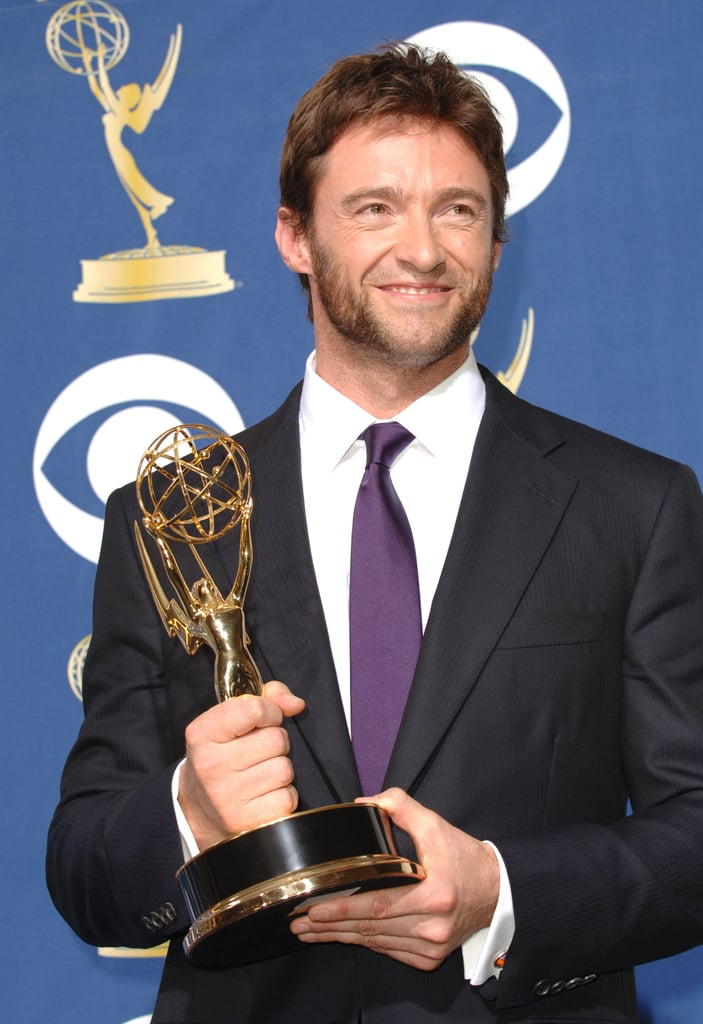 Hugh Jackman posed with a statue in 2005.
