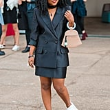 Wear Your Skirt Suit With Crisp White Trainers