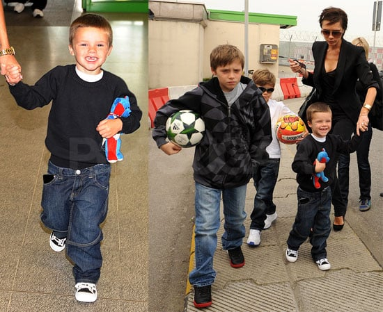 Photos of David, Victoria, Romeo, Brooklyn, Cruz Beckham Playing Soccer and at Airport in Milan and Heathrow