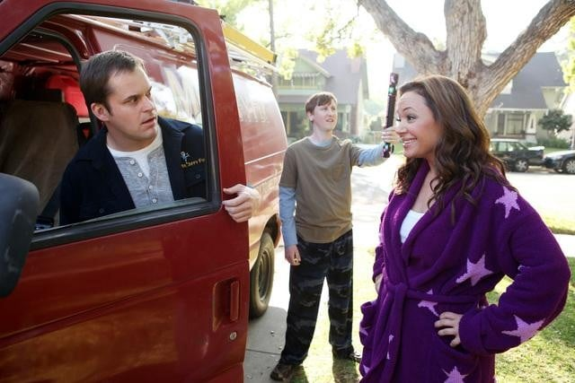 Kyle Bornheimer, Johnny Pemberton, and Lea Remini in Family Tools.