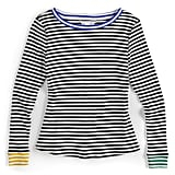 Contrast-Stripe Crewneck Sweater in Black