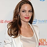 Angelina Jolie wore bright red lipstick.