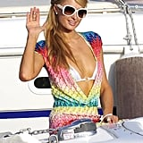 Paris Hilton waved to fans during an outing in Ibiza in August.