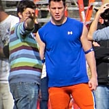 Channing Tatum donned football gear on Tuesday while filming 22 Jump Street in New Orleans.
