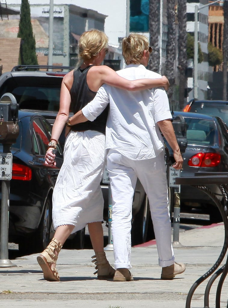 The pair had their arms around each other while walking around LA in August 2010.
