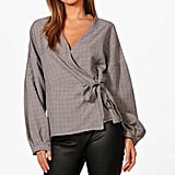 Boohoo Megan Check Wrap Top