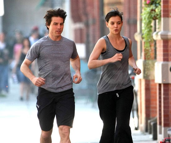 Slide Photo of Tom Cruise and Katie Holmes Running Together in Boston