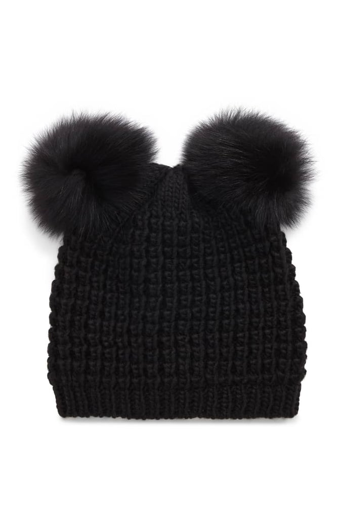 55aaa444365 Kyi Kyi Genuine Fox Fur Pompoms Hat