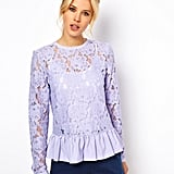 Pair this ASOS Heavy Lace peplum top ($64) with a skirt for Easter, and swap it out with your favorite pair of jeans and heels for your casual Friday workday.