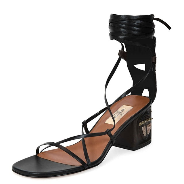 Valentino Mask-Heel Lace-Up Leather Sandal ($1,595)