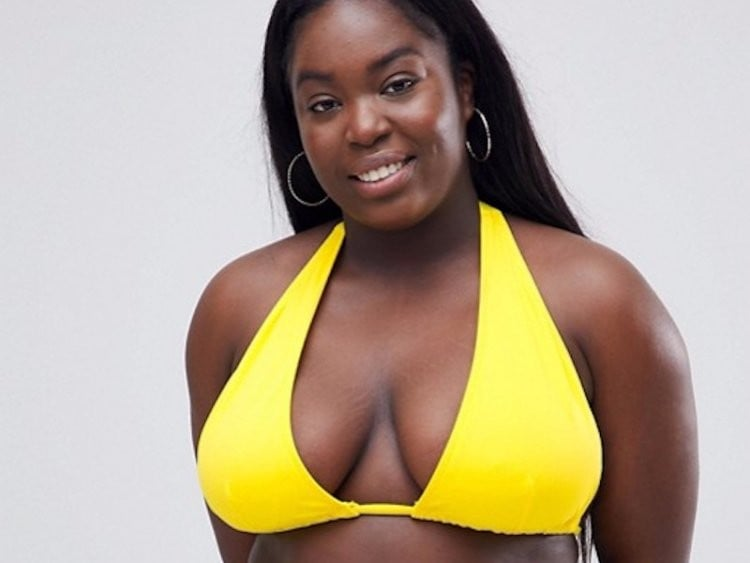 ASOS Plus-Size Black Model Yellow Bikini