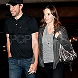 Emily Blunt and John Krasinski hold hands at LAX.