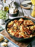 طبق قطع اللحم البقري مع باستا الفطر