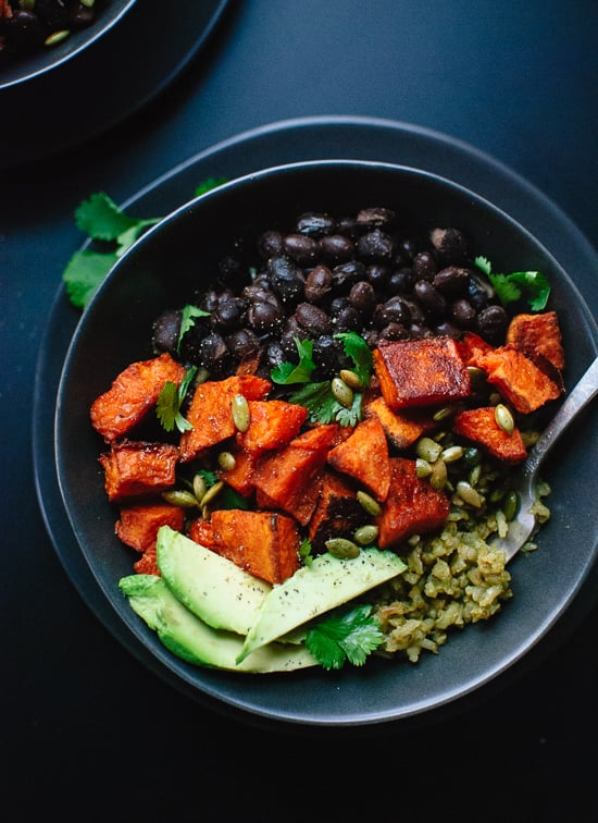 Vegan Sweet Potato Green Rice Burrito Bowls
